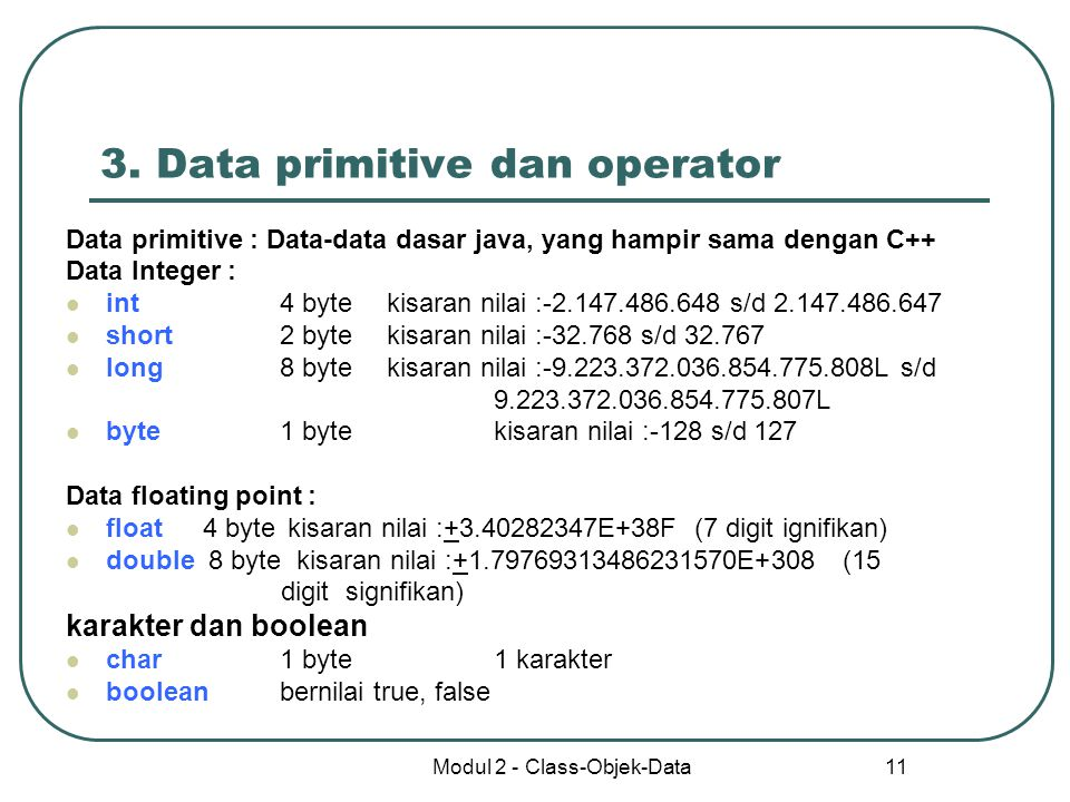 3. Data primitive dan operator