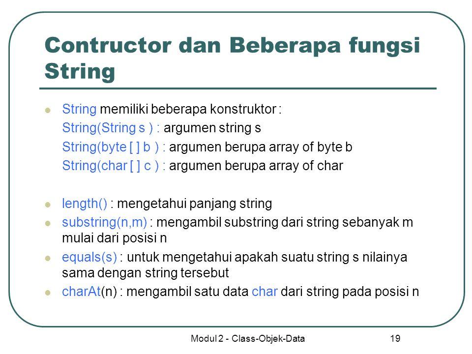Contructor dan Beberapa fungsi String