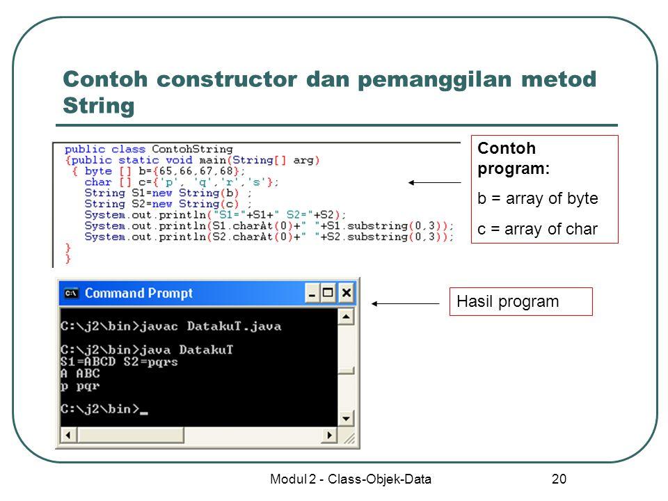 Contoh constructor dan pemanggilan metod String