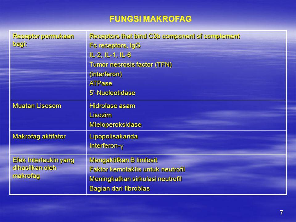 FUNGSI MAKROFAG Reseptor permukaan bagi:
