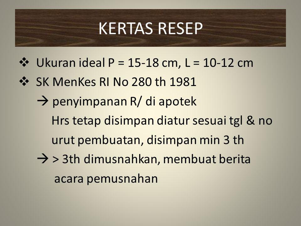 KERTAS RESEP Ukuran ideal P = 15-18 cm, L = 10-12 cm