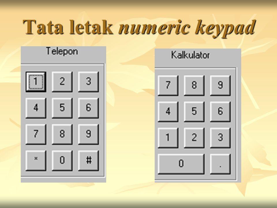 Tata letak numeric keypad