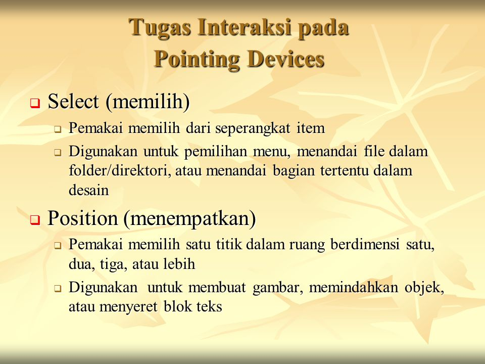 Tugas Interaksi pada Pointing Devices