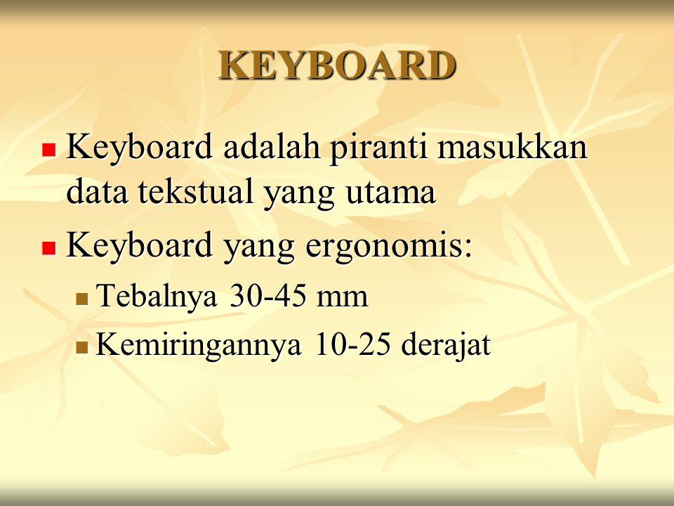KEYBOARD Keyboard adalah piranti masukkan data tekstual yang utama