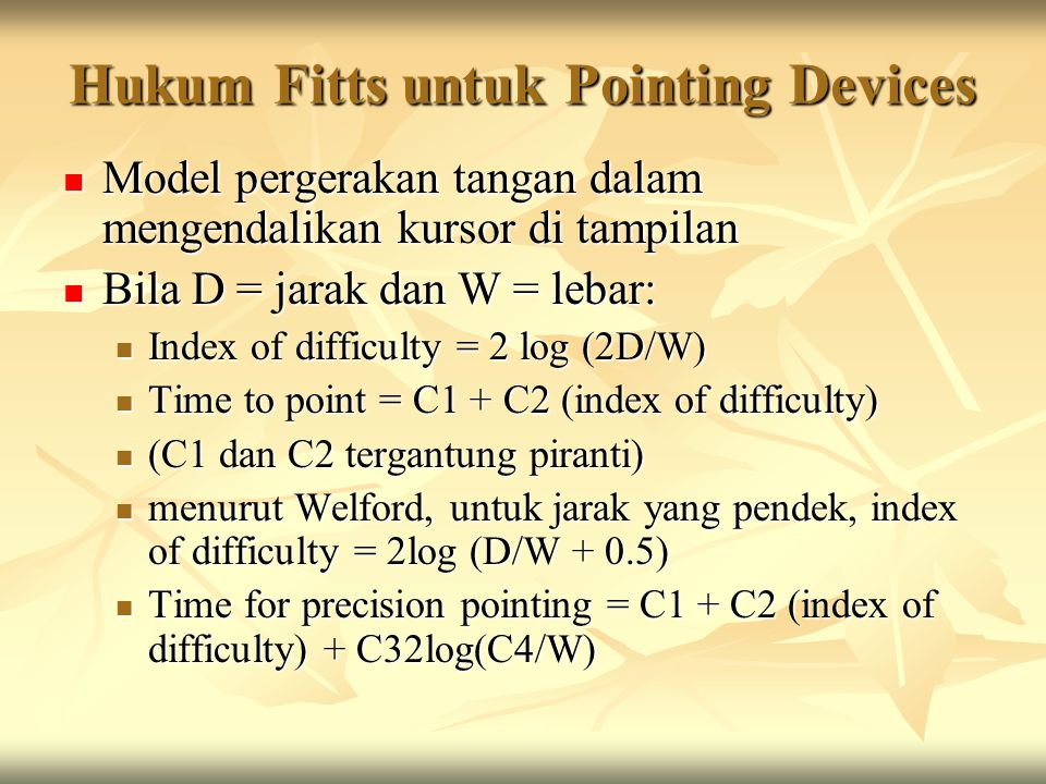 Hukum Fitts untuk Pointing Devices