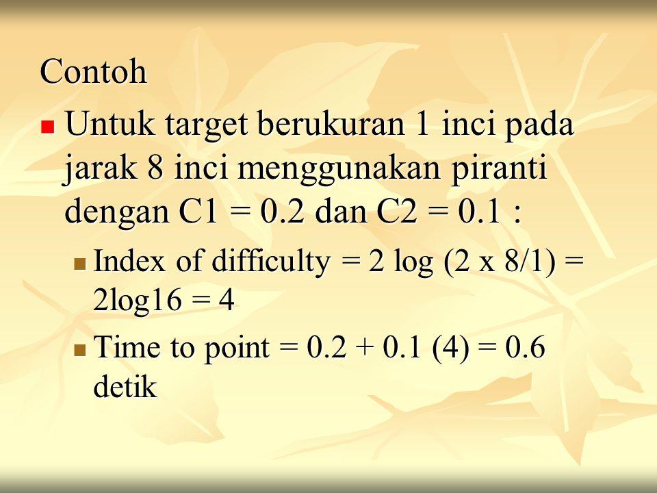 Contoh Untuk target berukuran 1 inci pada jarak 8 inci menggunakan piranti dengan C1 = 0.2 dan C2 = 0.1 :