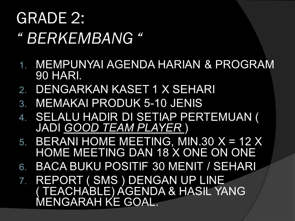 GRADE 2: BERKEMBANG MEMPUNYAI AGENDA HARIAN & PROGRAM 90 HARI.