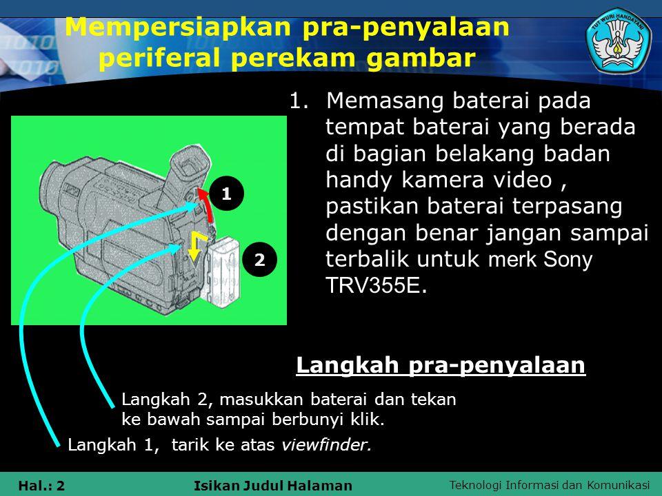 Mempersiapkan pra-penyalaan periferal perekam gambar