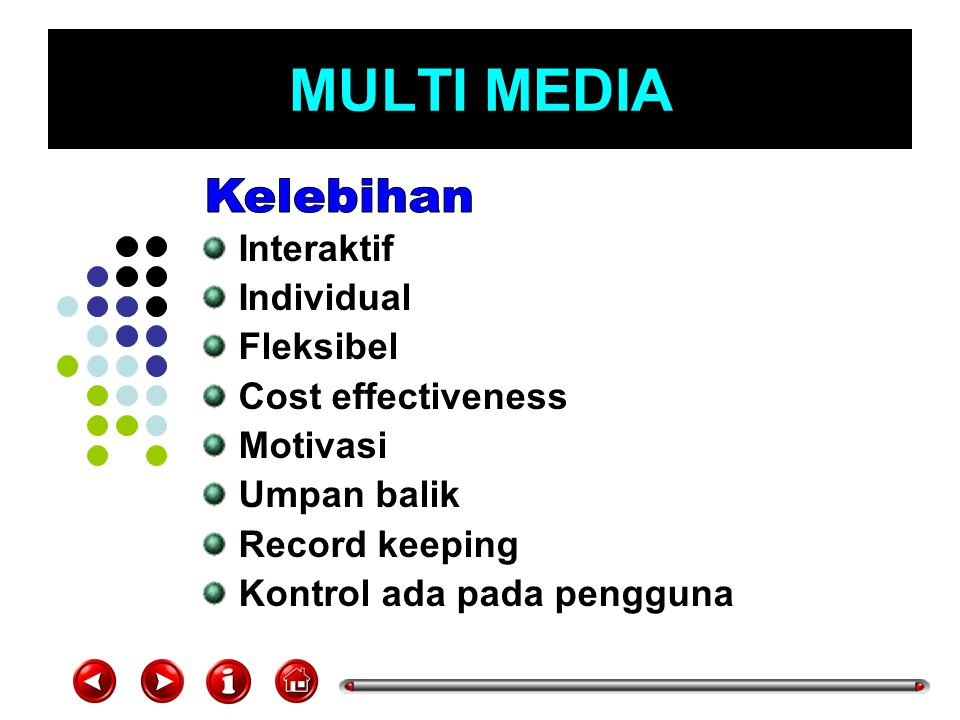 MULTI MEDIA Kelebihan Interaktif Individual Fleksibel