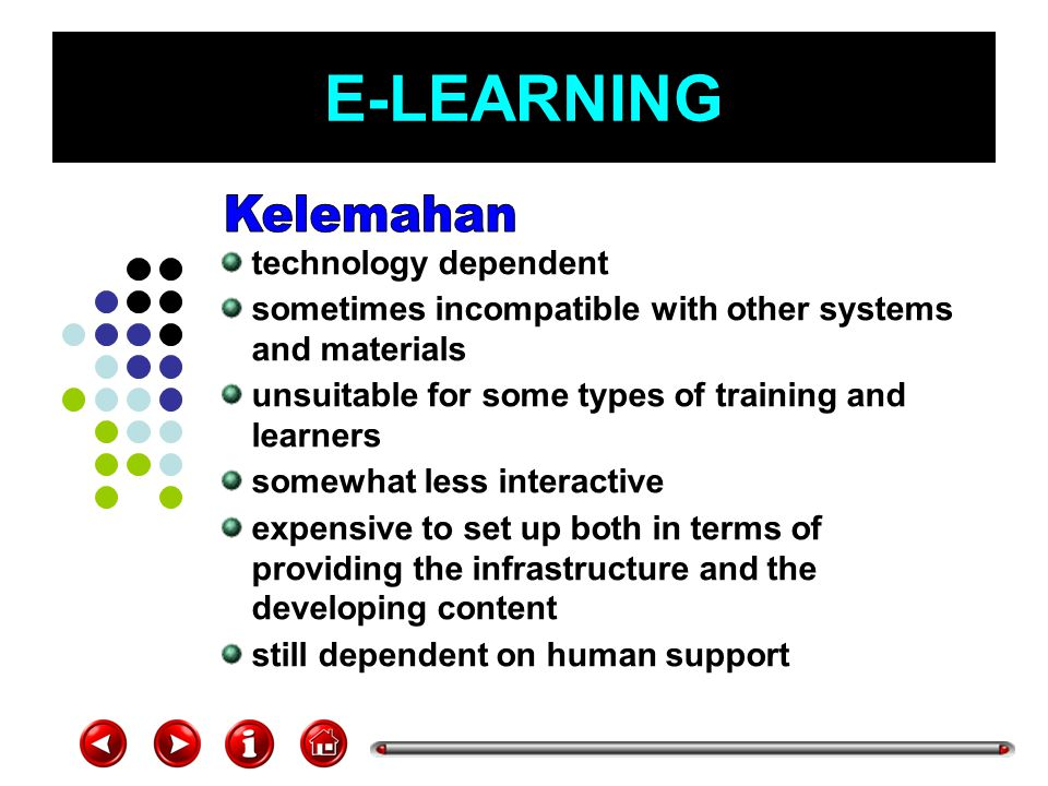 E-LEARNING Kelemahan technology dependent