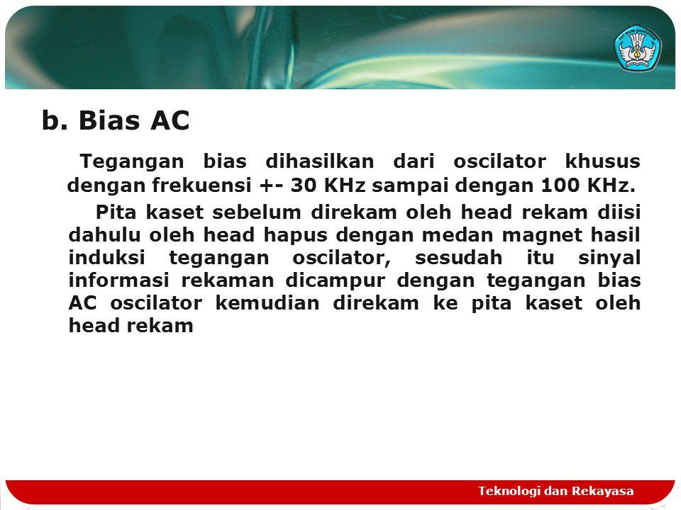 b. Bias AC Tegangan bias dihasilkan dari oscilator khusus dengan frekuensi +- 30 KHz sampai dengan 100 KHz.