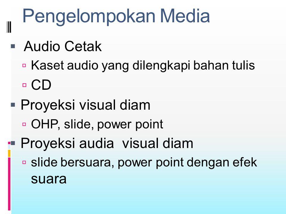 Pengelompokan Media Audio Cetak CD Proyeksi visual diam