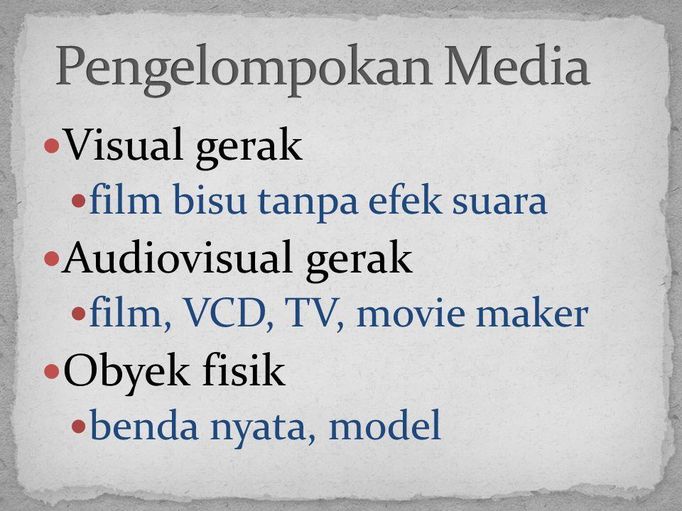 Pengelompokan Media Visual gerak Audiovisual gerak Obyek fisik