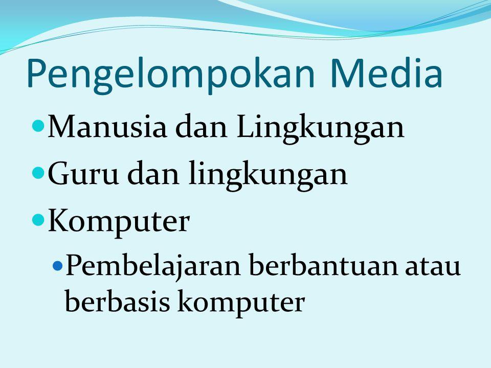 Pengelompokan Media Manusia dan Lingkungan Guru dan lingkungan