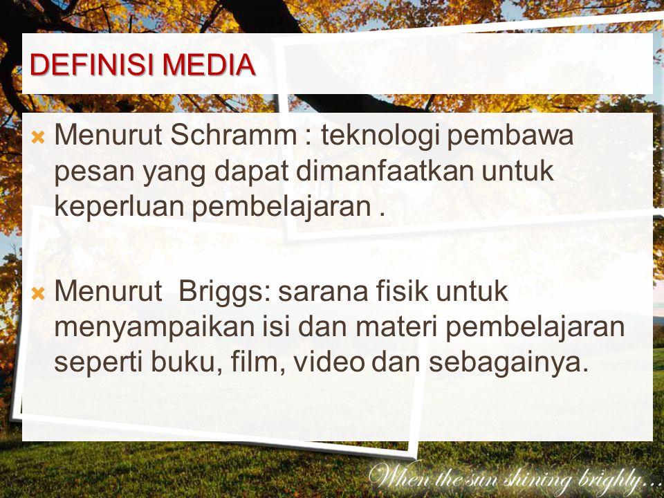 Definisi Media Menurut Schramm : teknologi pembawa pesan yang dapat dimanfaatkan untuk keperluan pembelajaran .