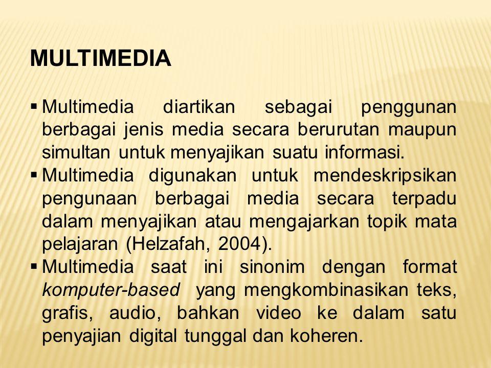MULTIMEDIA Multimedia diartikan sebagai penggunan berbagai jenis media secara berurutan maupun simultan untuk menyajikan suatu informasi.