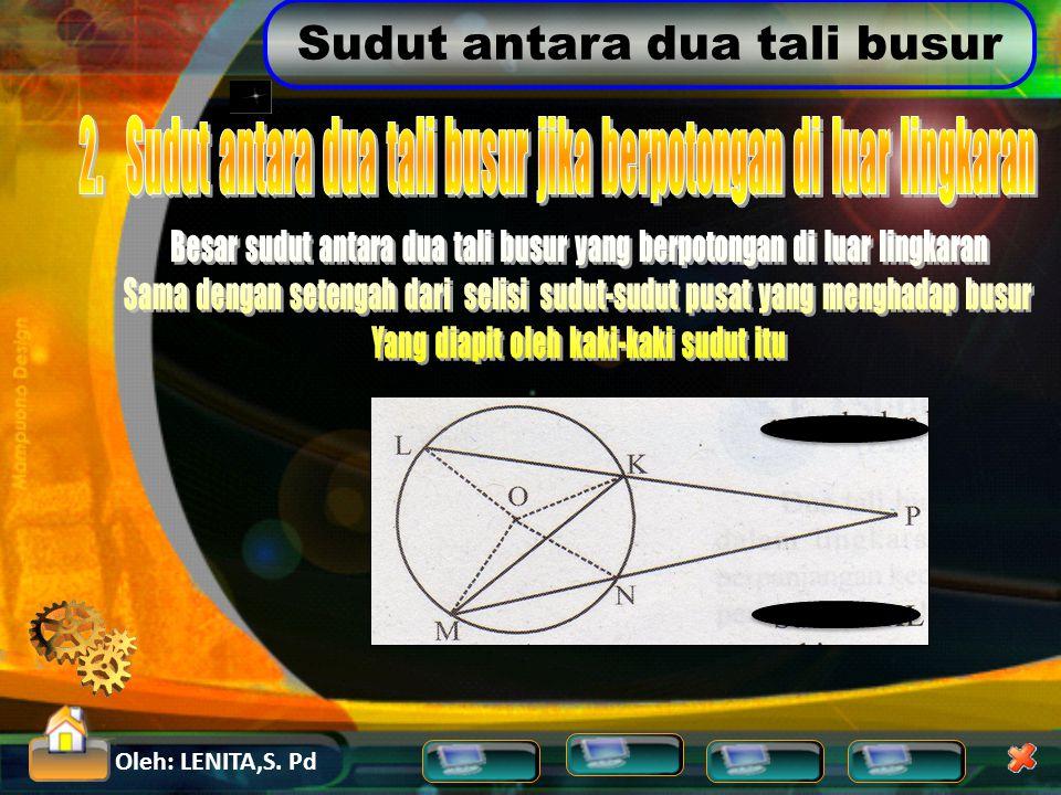 2. Sudut antara dua tali busur jika berpotongan di luar lingkaran