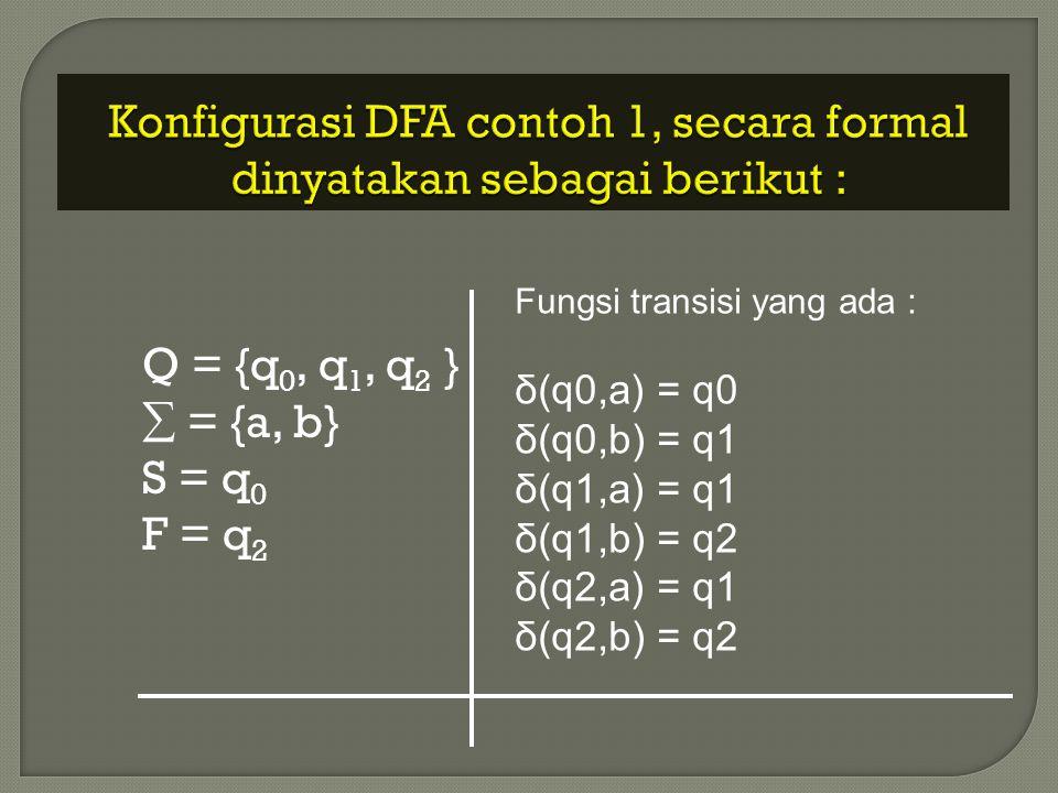 Konfigurasi DFA contoh 1, secara formal dinyatakan sebagai berikut :