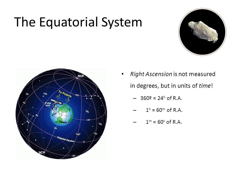 The Equatorial System Right Ascension is not measured in degrees, but in units of time! 360º = 24h of R.A.