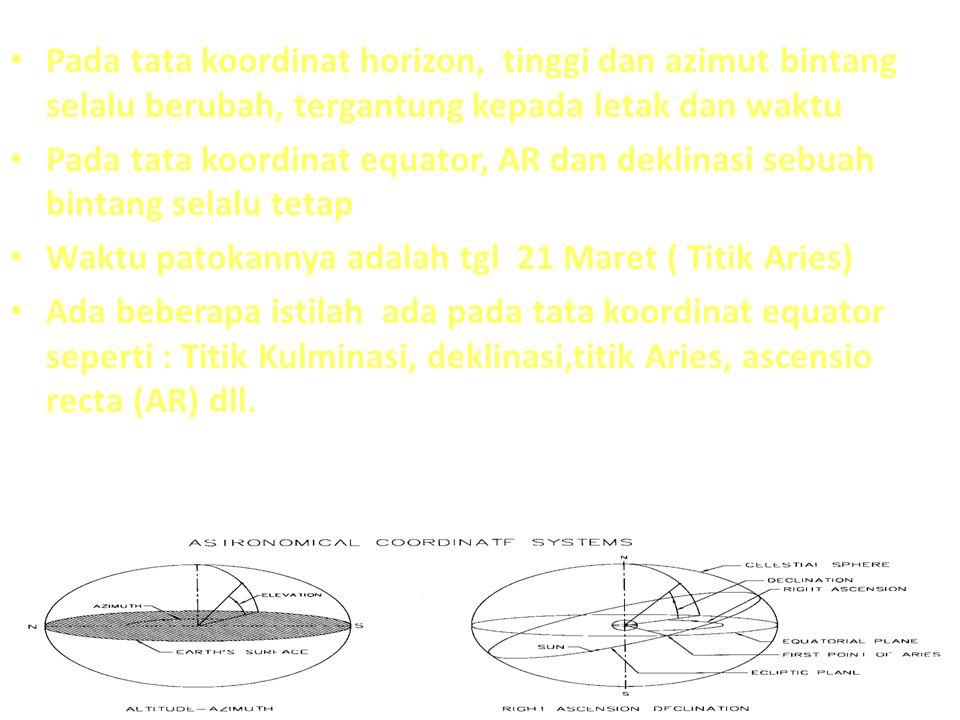 Pada tata koordinat horizon, tinggi dan azimut bintang selalu berubah, tergantung kepada letak dan waktu