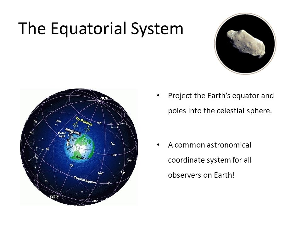 The Equatorial System Project the Earth's equator and poles into the celestial sphere.