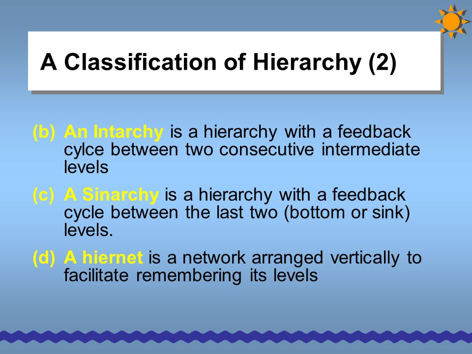 A Classification of Hierarchy (2)