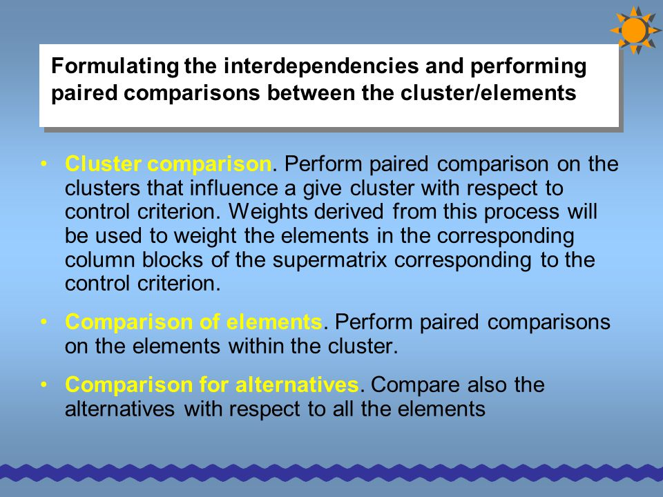Formulating the interdependencies and performing paired comparisons between the cluster/elements