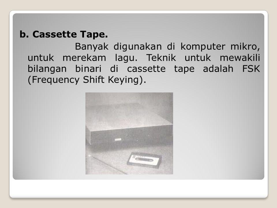 b. Cassette Tape. Banyak digunakan di komputer mikro, untuk merekam lagu.