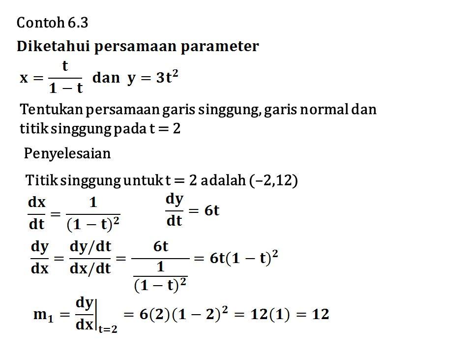 Contoh 6.3 Tentukan persamaan garis singgung, garis normal dan. titik singgung pada t = 2. Penyelesaian.