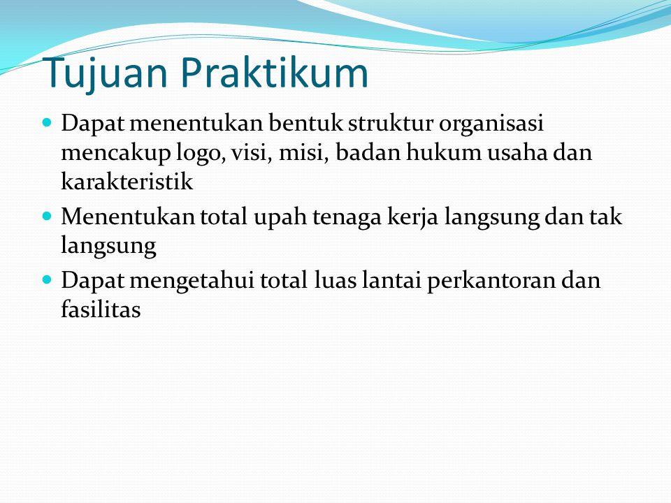 Tujuan Praktikum Dapat menentukan bentuk struktur organisasi mencakup logo, visi, misi, badan hukum usaha dan karakteristik.