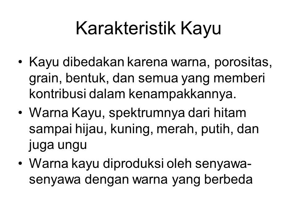 Karakteristik Kayu Kayu dibedakan karena warna, porositas, grain, bentuk, dan semua yang memberi kontribusi dalam kenampakkannya.