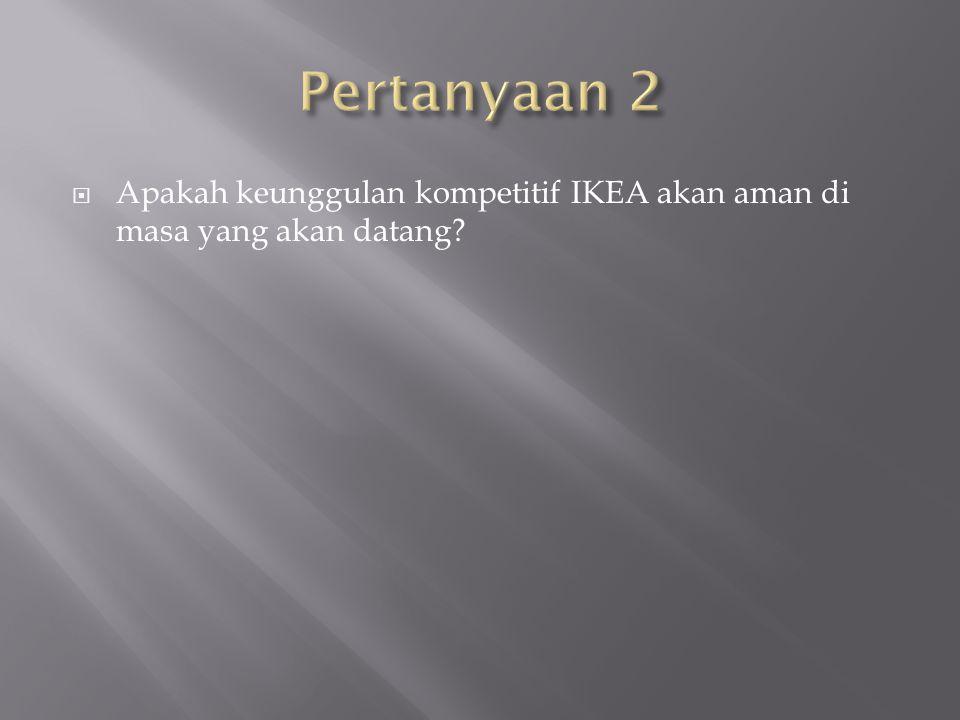 Pertanyaan 2 Apakah keunggulan kompetitif IKEA akan aman di masa yang akan datang