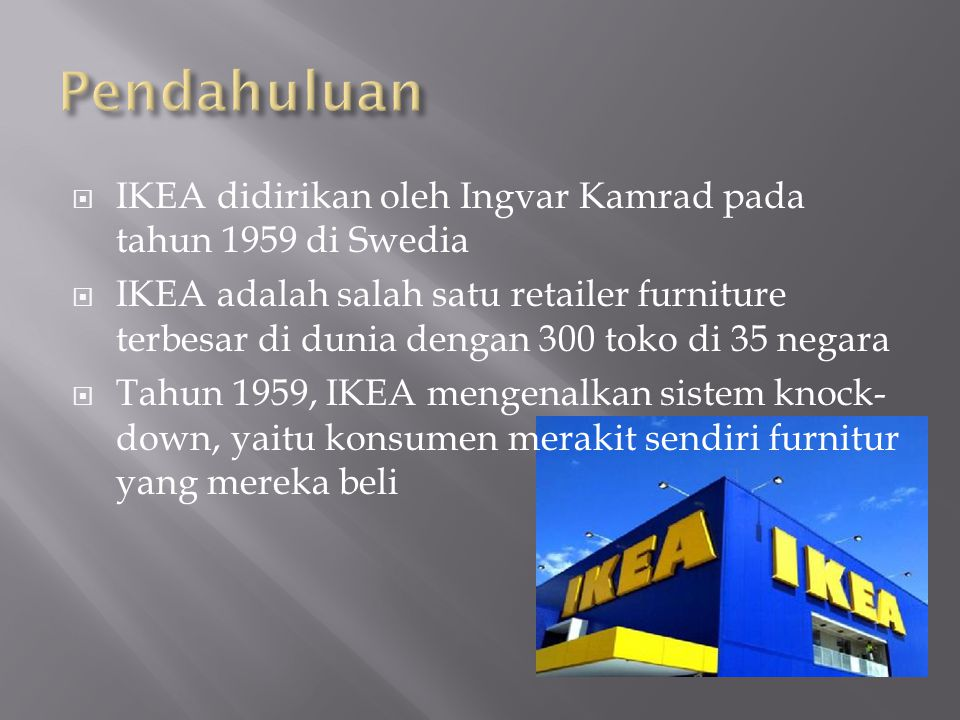 Pendahuluan IKEA didirikan oleh Ingvar Kamrad pada tahun 1959 di Swedia.
