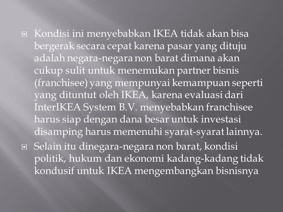Kondisi ini menyebabkan IKEA tidak akan bisa bergerak secara cepat karena pasar yang dituju adalah negara-negara non barat dimana akan cukup sulit untuk menemukan partner bisnis (franchisee) yang mempunyai kemampuan seperti yang dituntut oleh IKEA, karena evaluasi dari InterIKEA System B.V. menyebabkan franchisee harus siap dengan dana besar untuk investasi disamping harus memenuhi syarat-syarat lainnya.