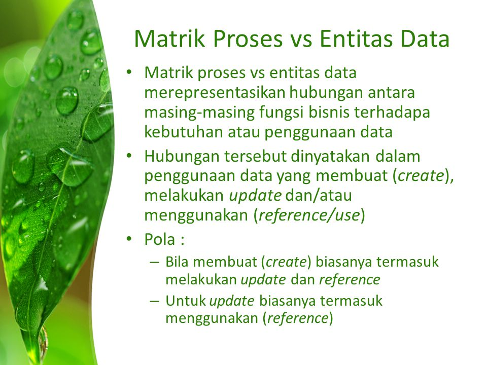 Matrik Proses vs Entitas Data