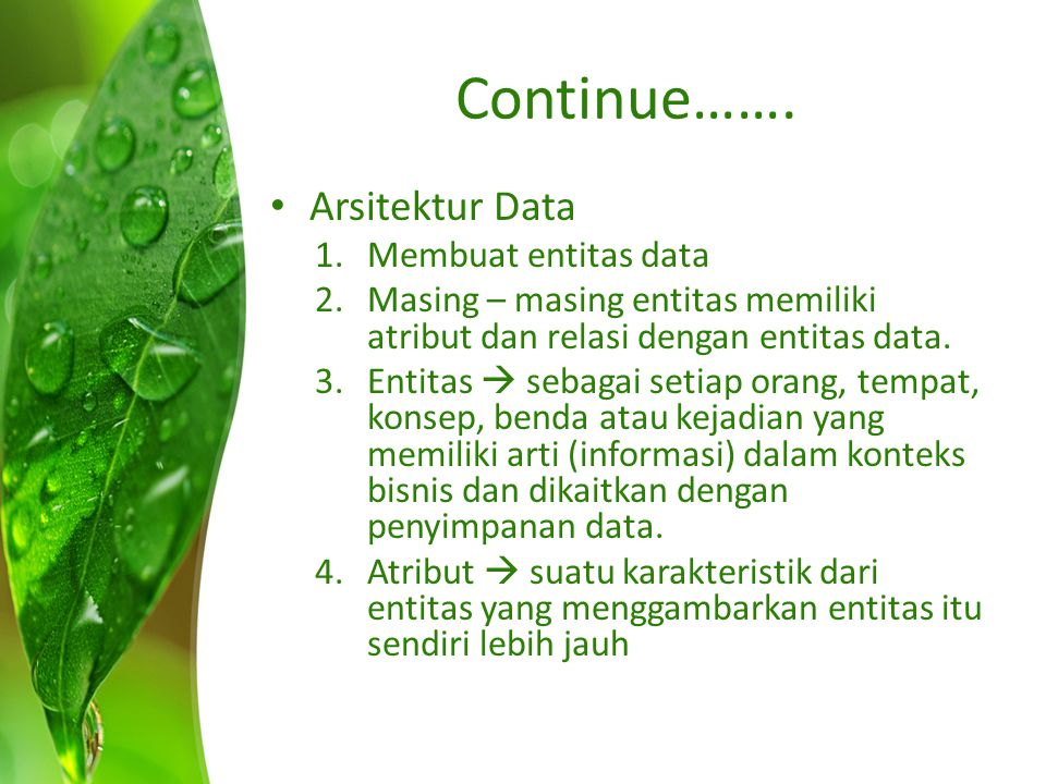 Continue……. Arsitektur Data Membuat entitas data