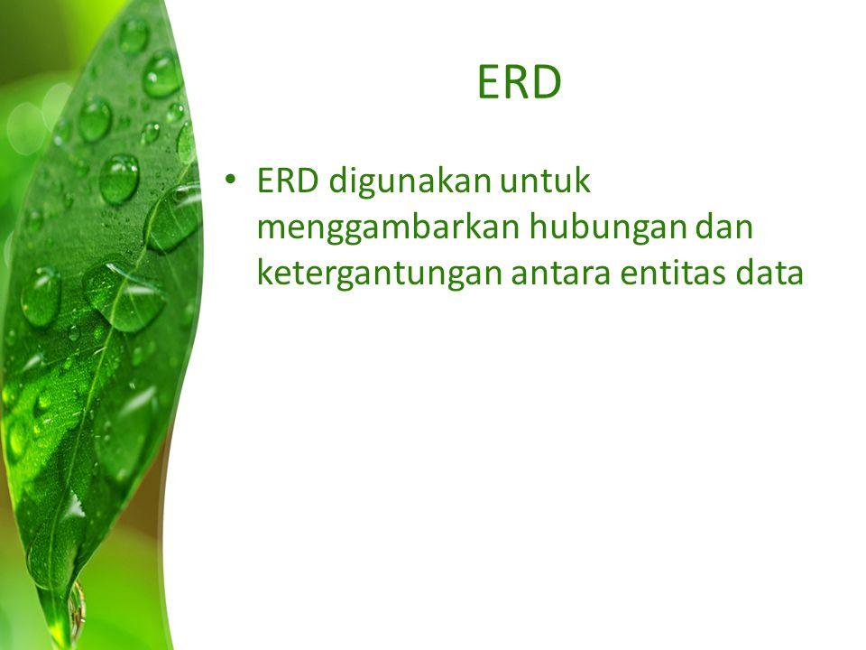 ERD ERD digunakan untuk menggambarkan hubungan dan ketergantungan antara entitas data