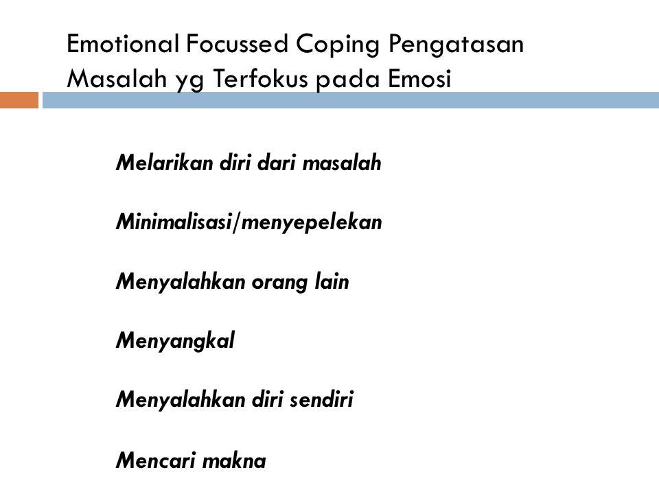 Emotional Focussed Coping Pengatasan Masalah yg Terfokus pada Emosi