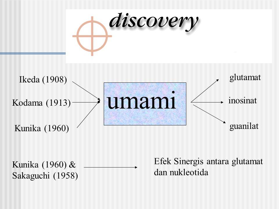 umami glutamat Ikeda (1908) inosinat Kodama (1913) guanilat