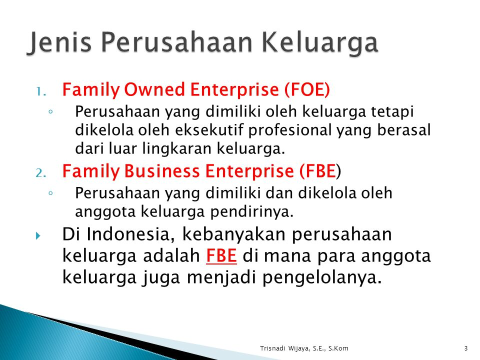Jenis Perusahaan Keluarga