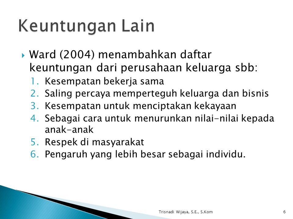 Keuntungan Lain Ward (2004) menambahkan daftar keuntungan dari perusahaan keluarga sbb: Kesempatan bekerja sama.