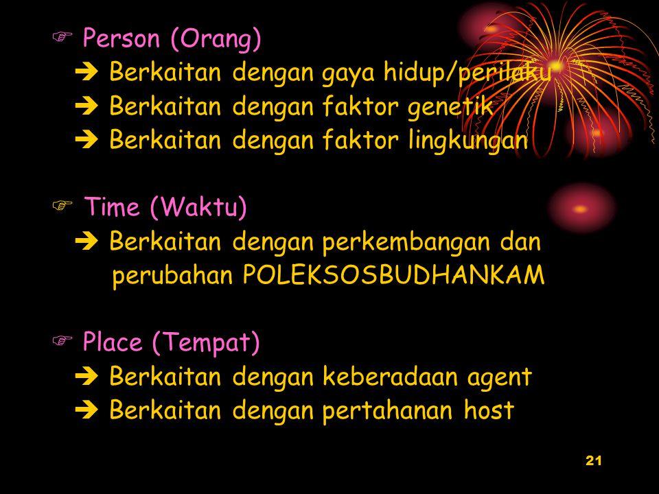 Person (Orang)  Berkaitan dengan gaya hidup/perilaku.  Berkaitan dengan faktor genetik.  Berkaitan dengan faktor lingkungan.