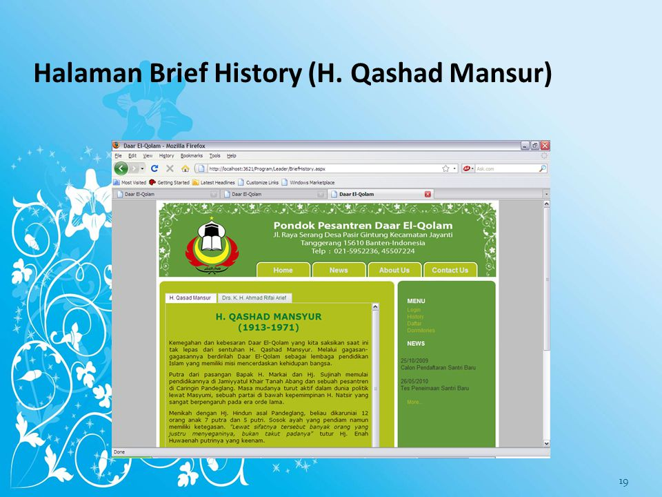 Halaman Brief History (H. Qashad Mansur)