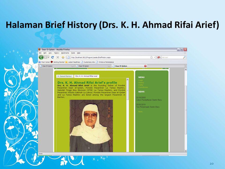 Halaman Brief History (Drs. K. H. Ahmad Rifai Arief)
