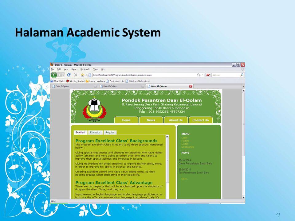 Halaman Academic System