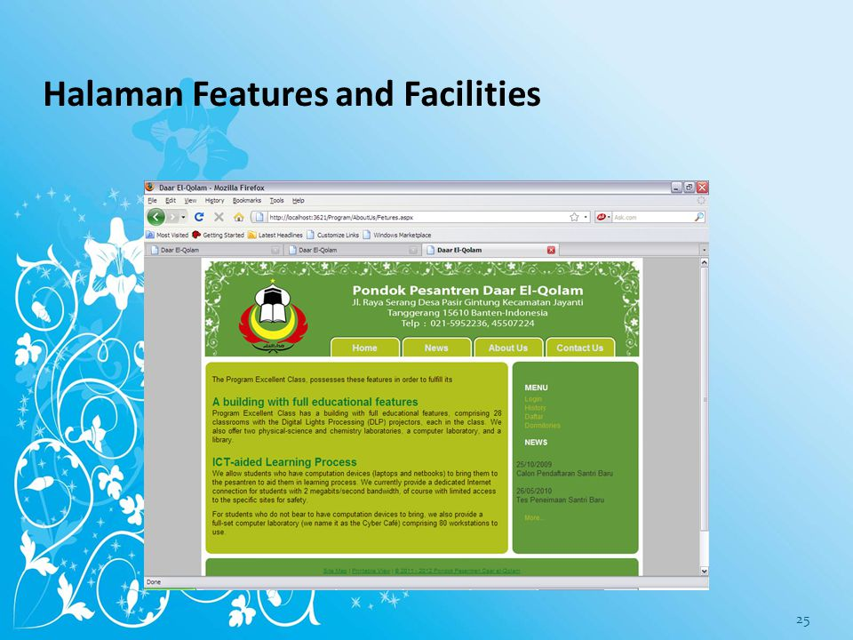 Halaman Features and Facilities