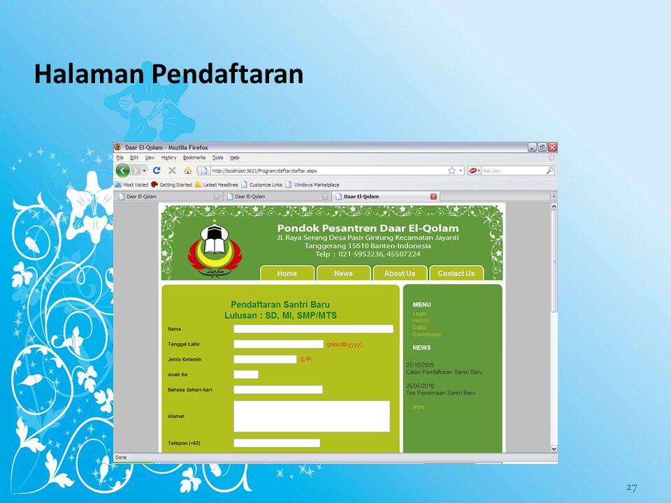 Halaman Pendaftaran