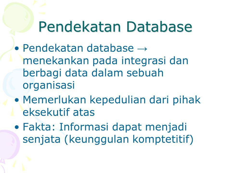 Pendekatan Database Pendekatan database → menekankan pada integrasi dan berbagi data dalam sebuah organisasi.