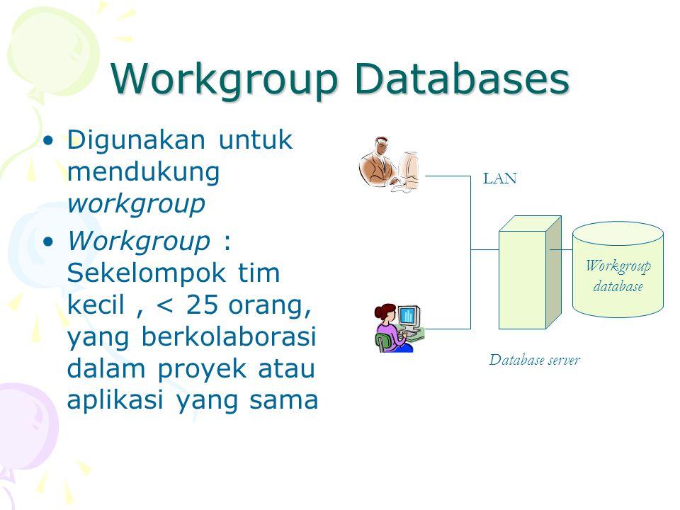 Workgroup Databases Digunakan untuk mendukung workgroup