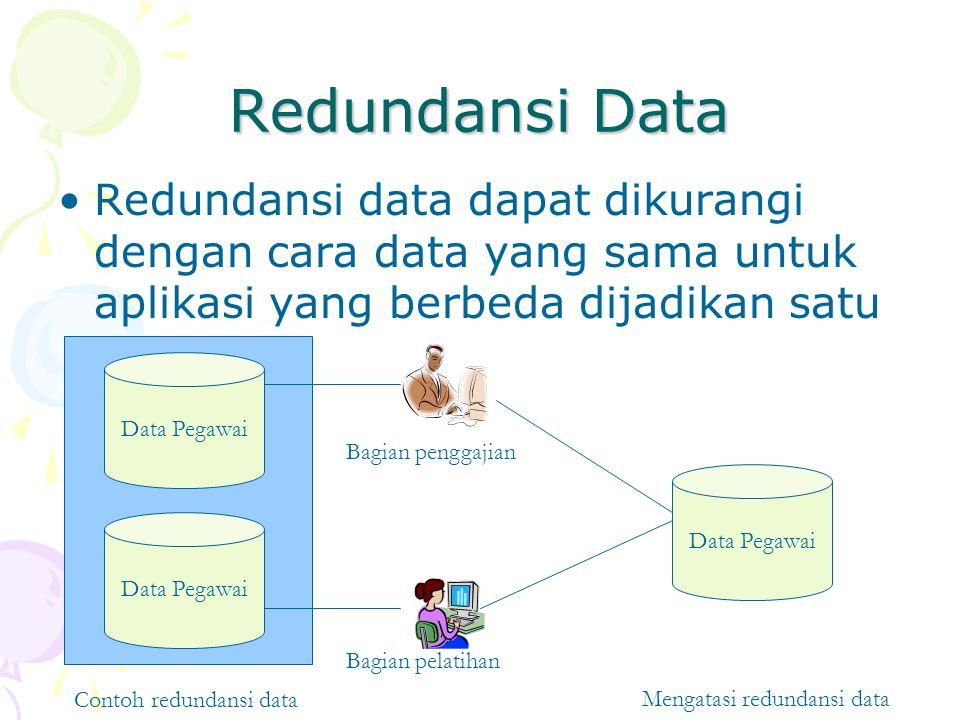 Redundansi Data Redundansi data dapat dikurangi dengan cara data yang sama untuk aplikasi yang berbeda dijadikan satu.